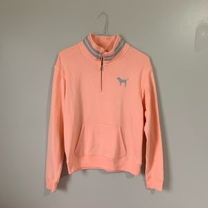 Orange Graphic VS Pink Half Zip Sweatshirt